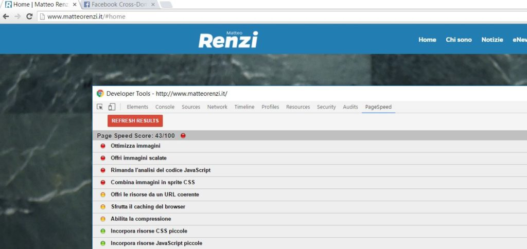 Siti fatti con WordPress - Matteorenzi.it -Page Speed