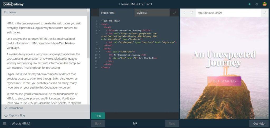 A sinistra hai la lezione, al centro il code editor, a destra il risultato: facilissimo, no?