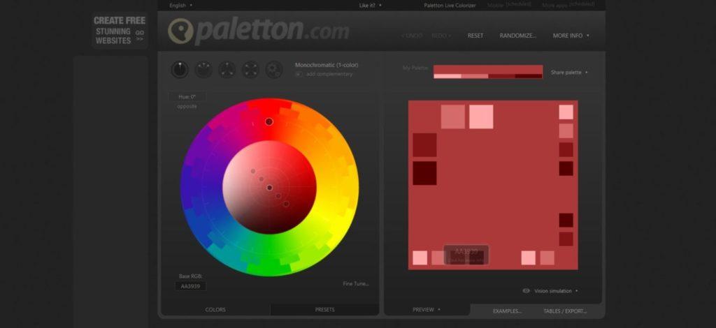 Paletton per scegliere la palette del tuo sito web responsive