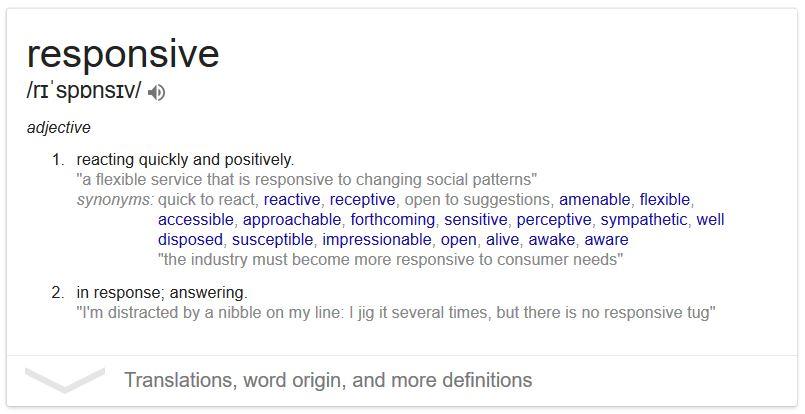 Sito Web Responsive - Il significato della parola Responsive in inglese