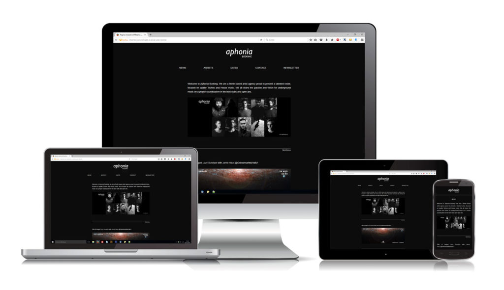 Aphonia Booking - Sito Web - Responsive Design - Devices