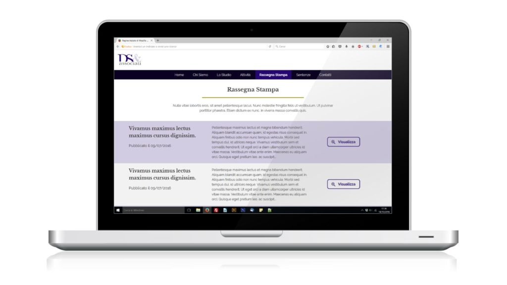 DS e Associati Studio Legale - Responsive Web Design - Rassegna Stampa, Notebook