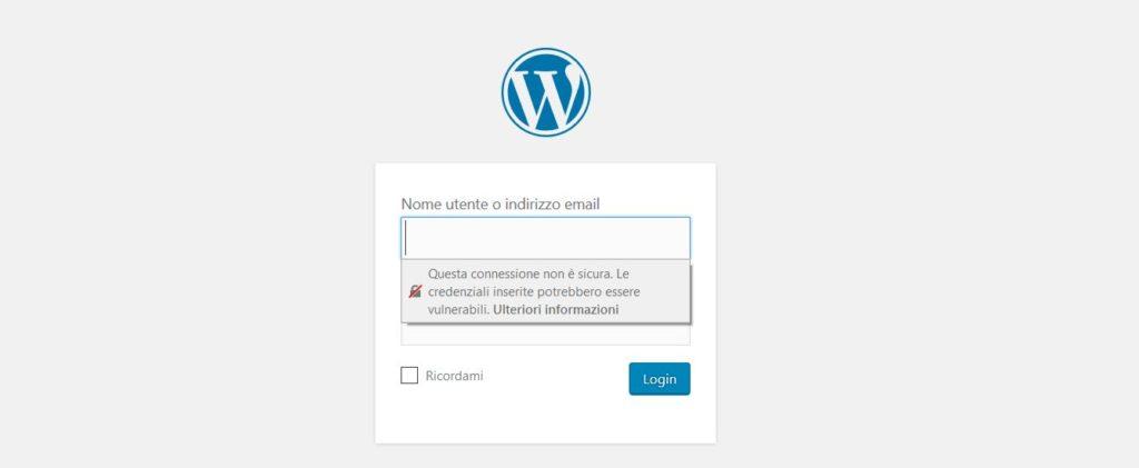 Connessione HTTP, Login di WordPress - Avvisi su Firefox
